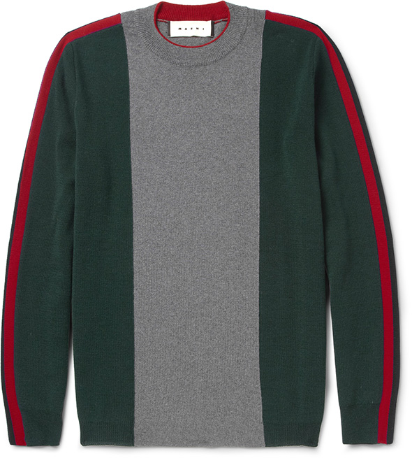Marni MRPORTER green, grey & red stripe jumper