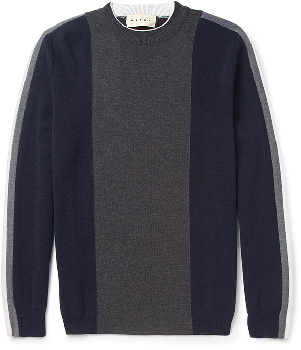 Marni MRPORTER navy & grey stripe jumper