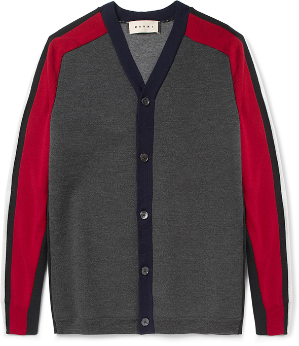 Marni MRPORTER red & grey cardigan